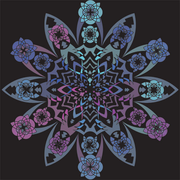purple and blue kaleidoscope like drawing