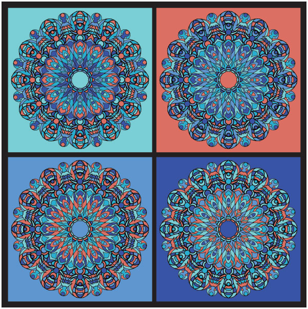 four intricated detailed kaleidoscope like circles in shades of blue and salmon colors