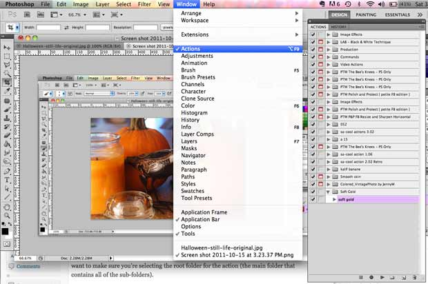 screen shot showing how to open actions pallette
