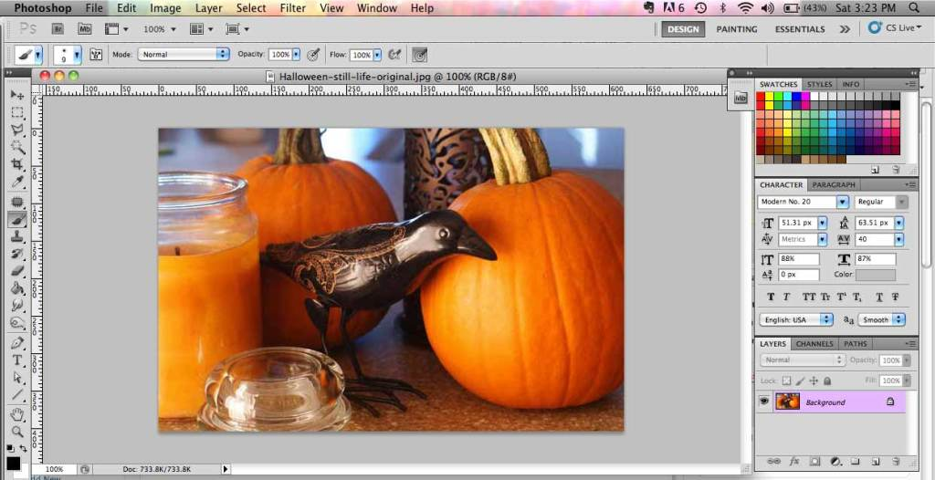 screen shot of halloween picture in Photoshop