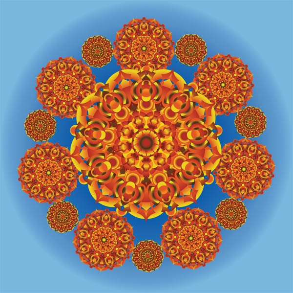 colorful kaleidoscope like shape in autumn color palette