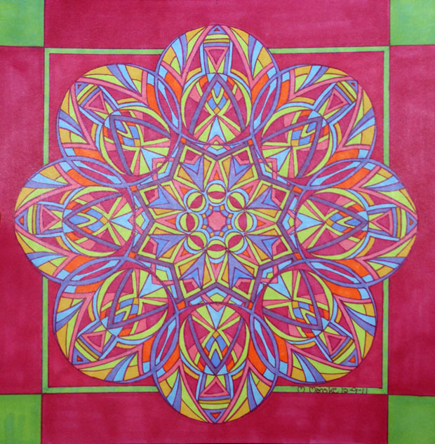 sherbert colored geometric kaleidoscope like drawing
