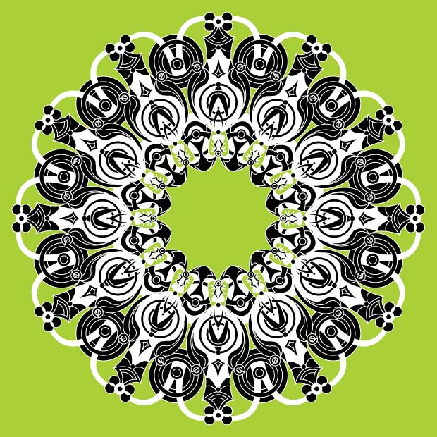 black-white-and-green-kaleidoscope-shape