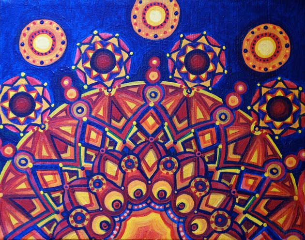 red blue yellow and orange kaleidoscope like sunburst acrylic painting