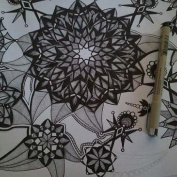 Currently Working On {kaleidoscope art with Micron pens…my favorite!}