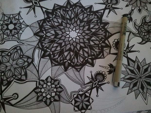 Currently working on kaleidoscope art with micron pensmy favorite