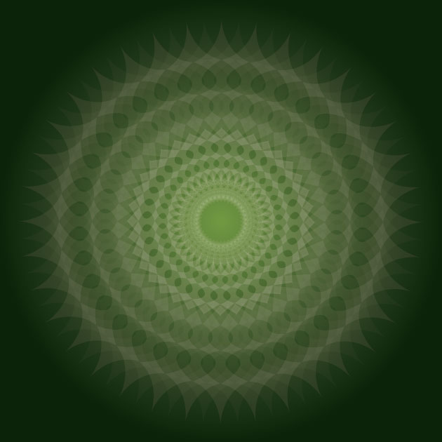 kaleidoscope like white shape against a jade colored background
