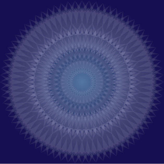 kaleidoscope like white shape against a sapphire colored background