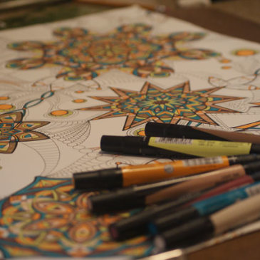 Still working on… {teal & yellow kaleidoscope marker drawing progression}