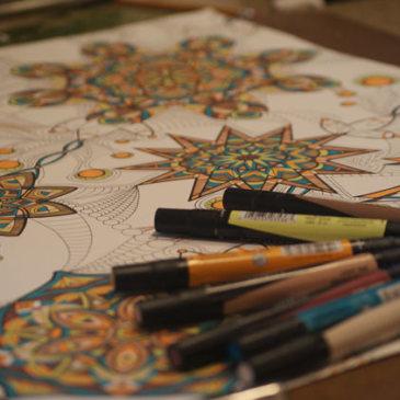 Still working on… {teal & yellow kaleidoscope marker drawing progression}