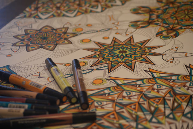 detail photo of kaleidoscope marker drawing