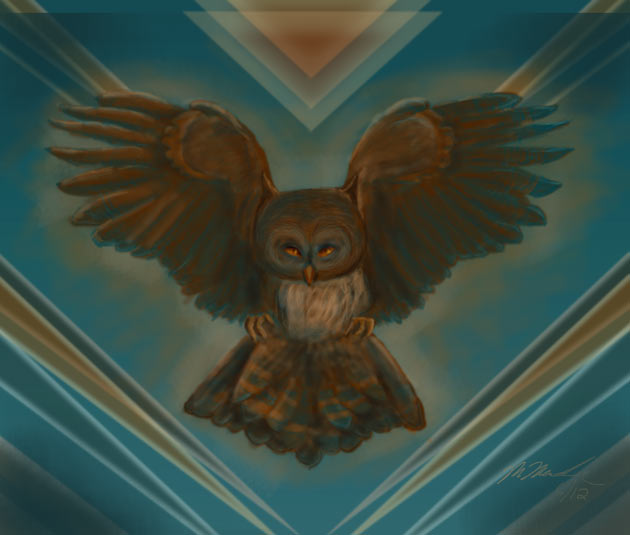 digital painting of brown owl against blue background