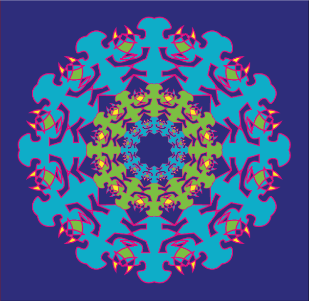 purple turquoise magenta and green kaleidoscope like design