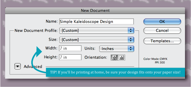 screen shot of step one for creating a kaleidoscope in illustrator