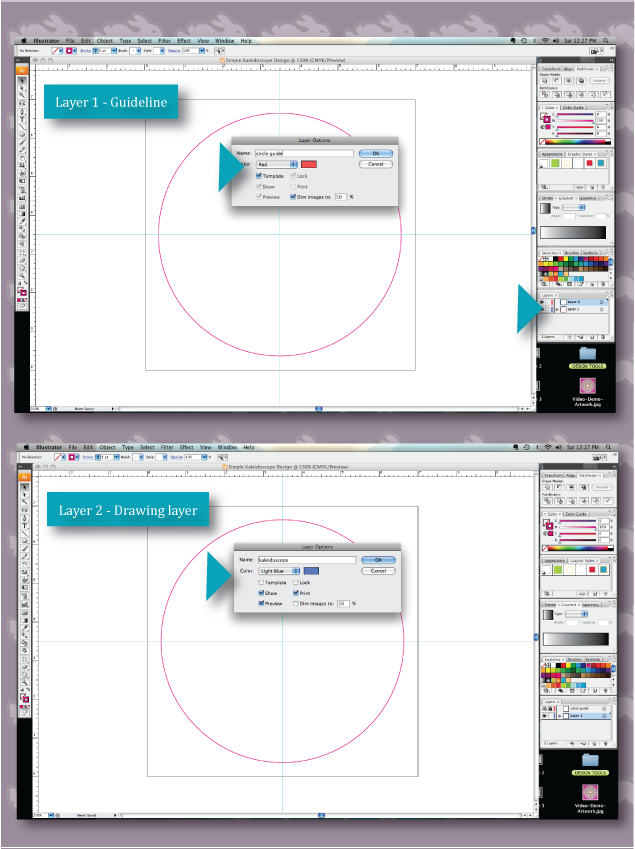 screen shot of step three for creating a kaleidoscope in illustrator