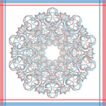 Red and Blue Kaleidoscope Art {now in 3-D!}