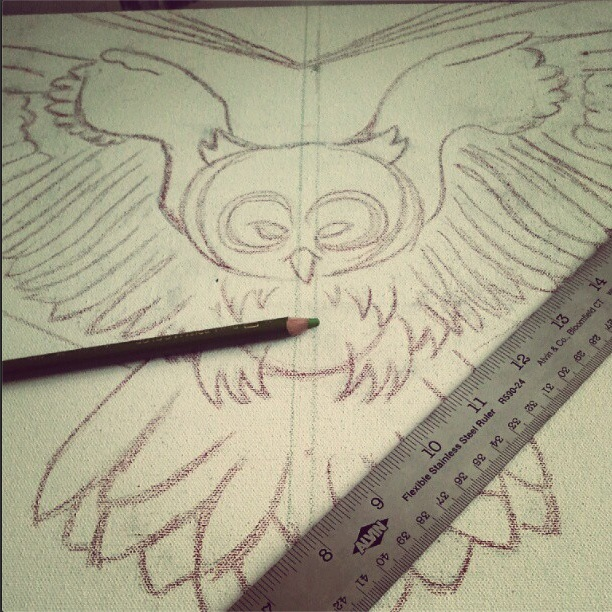 owl painting progression 1