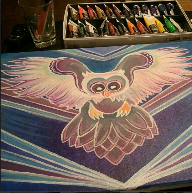 owl painting progression 2a