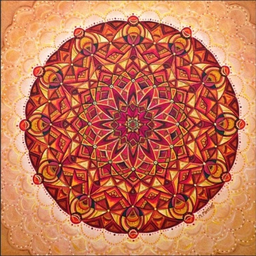 Sunrise Mandala {red and orange acrylic painting}